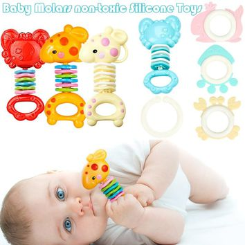 Kids Cartoon Teethers Safety Rattles Teether Toy Gutta Molar Bars Biting Bell Silicone Baby Teething Appease Newborn Infant Toys