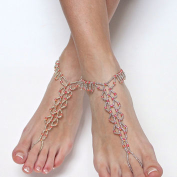 Silver and Coral Beaded Barefoot Sandals