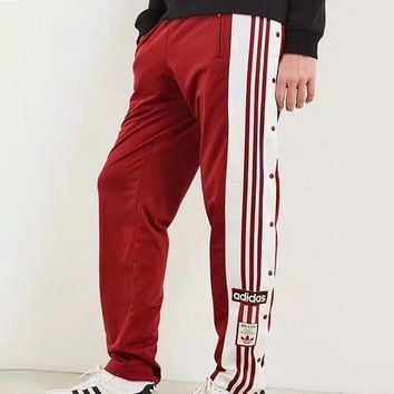 ADIDAS Originals side-breasted split sweatpants side open buckle trousers F-AA-XDD Red