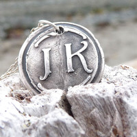 Wax seal monogram necklace pendant jewelry in first and last initials, custom made to order