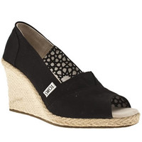 Women's Black Toms Wedge Sandals | schuh