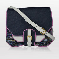 SHREWSBERRY SATCHEL Denim and Leather Cross Body Bag With Purple Piping