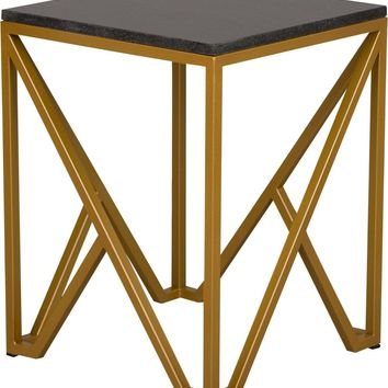 Kory End Table Powdercoated Gold With A Black Granite Top