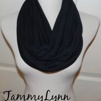 Black Tonal Stripe Cotton Spandex Knit Fabric Knit Fabric Blend Infinity Scarf Cowl Women's Accessories