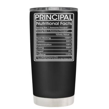 Principal Nutricional Facts on Black Matte 20 oz Stainless Steel Tumbler with Lid - Teacher Gift