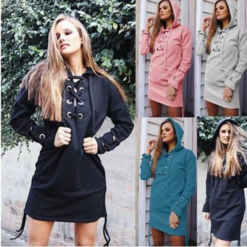 Autumn Winter Women's Fashion Long Sleeve Sweatshirt Dress Casual Hooded With Cross Lace Up Hoodies Women Outwear
