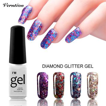 3D Diamond Glitter lucky Nail Gel Polish UV LED Lacquer Sequins professional Nail Art Soak off Top and base coat Gel Varnish