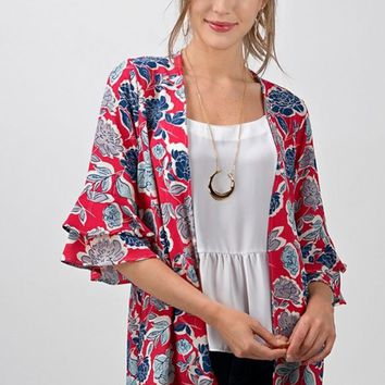 Cherry Red Floral Bell Sleeve Kimono