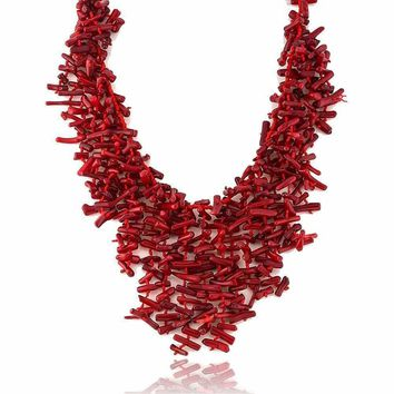 """18 Inch Semi Precious Red Simulated Coral Chips Strand Statement Necklace 18"""""""