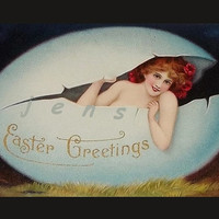 Beautiful Lady in Easter Egg, 1909 postcard