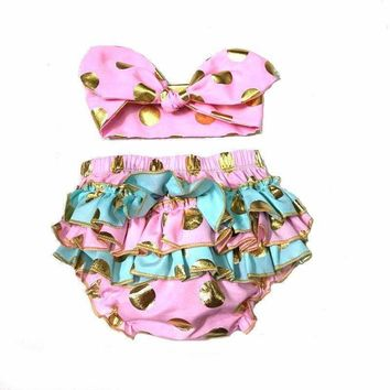 Baby Girl Gold Polka Dot Bloomers Diaper Cover Ruffles Baby Girl Shower Gift Photo Shoot Props with Headband