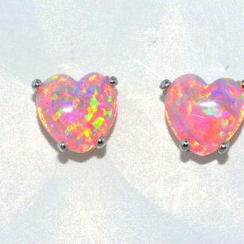 3ct Pink Opal Heart Stud Earrings in Sterling Silver