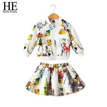Girls clothing sets autumn Children Clothing Kids Clothes Girls Clothing Sport Suits 2 PCS ( Jacket + Skirt )