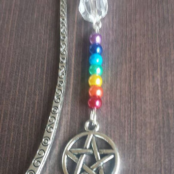 Pentagram chakra metal charm bookmark