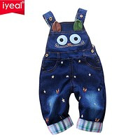 IYEAL 2017 Autumn Baby Rompers Animal Baby Boy Girl Jeans Jumpsuit High Quality Denim Overalls Infant Clothing Baby Clothes 0-2Y