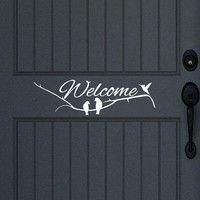 Welcome with Tree Branch and Birds Vinyl Decal for Wall or Door 22296