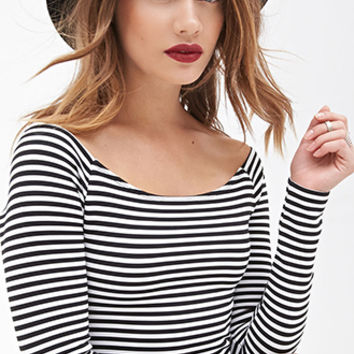 FOREVER 21 Striped Crop Top Black/White