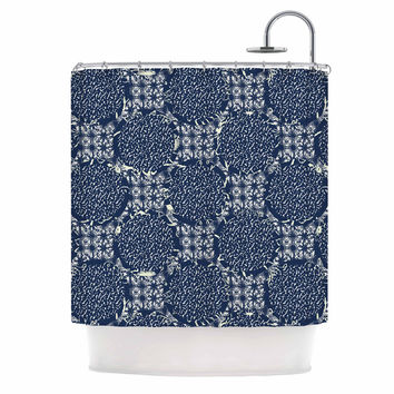 "Laura Nicholson ""Indigo Lattice"" Blue Pattern Shower Curtain"