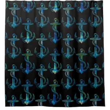Anchor Blue Green Black Shower Curtain