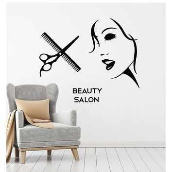 Vinyl Wall Decal Woman Abstract Face Beauty Hairdressing Salon Tools Stickers Mural (g2518)