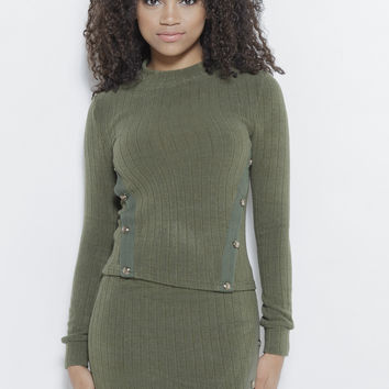 Just Intentional Knit LS Top-Olive Green