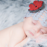 Baby Girl Newborn crochet Shell Pattern Gray Grey Spring Hat Summer Hat Flower Beanie Hat Photo Prop Hat