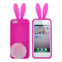 Rabbit Silicone Case Shallow Light Green Bunny Ears Soft Rubber Cover Skin Furry Tail For iPhone 5C