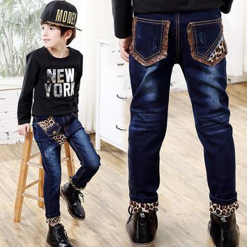 2017 New Spring Autumn Leopard Patchwork Casual Boys Jeans Pants Kids Trousers 2 to 9 years old children wear fashionable style