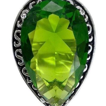 Large Teardrop Silvertone Cocktail Ring with Green CZ Center Stone and Black Antique Accent
