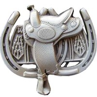 Saddle With Horse Shoes Novelty Belt Buckle