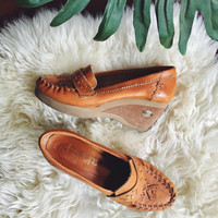 70's Leather Loafers, 7 1/2 BUSKENS Brown Leather + Suede Boho Hippie Wedge Loafers, 1970's Platform Wedges, Women's Penny Loafers