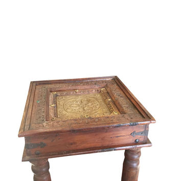 Indian Antique sIDE Table Chakra Hand Carved Brass Table Furniture End Table