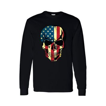 Men's Long Sleeve Shirt American Flag Skull