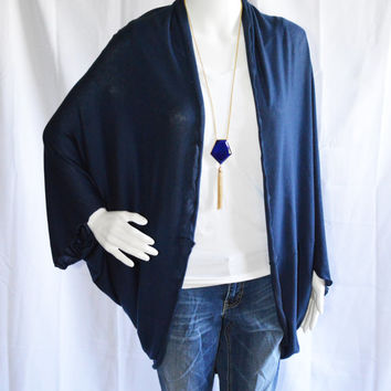 Navy Cocoon Cardigan/ Lightweight Knit Wrap/ Long Cocoon Jacket/ Batwing Sleeve Cardigan/ Oversized Kimono Shrug/ Nautical