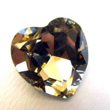 LIGHT SMOKED TOPAZ - Large Heart Of Gold Swarovski Crystal - 28mm Jewelry Supplies