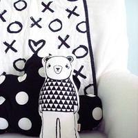Modern black and white stuffed toy teddy bear - little Osito