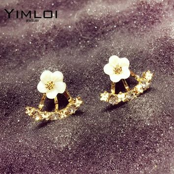2016 Fashion Earing Big Crystal White Gold Silver Jewelry High Quality Flower Ear Clips Stud Earrings For Women Brinco E299