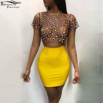 Bonnie Forest Sexy High Waist Yellow Mini Skirt + See-Through Dot Printed Tops Women's Party Nightclub Two 2 Piece Set Outfit