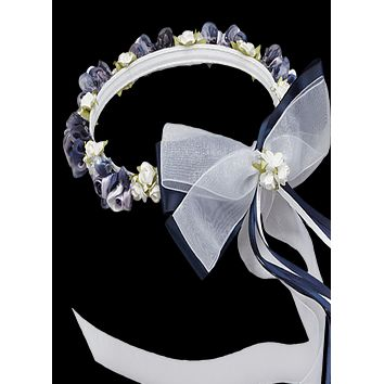 Navy Blue Floral Crown Wreath Handmade with Silk Flowers, Satin Ribbons & Bows (Girls)