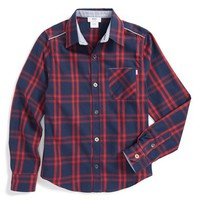 Boy's BOSS Kidswear Plaid Twill Shirt,