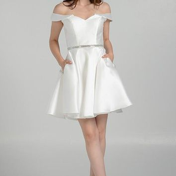 Short White satin homecoming prom dress #pol 7948