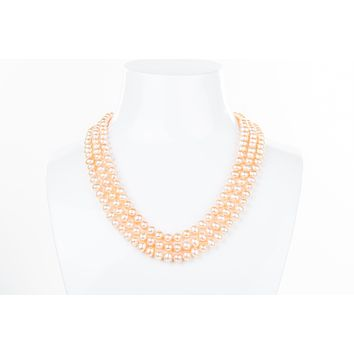Peach Triple Strand Layer Freshwater Pearl Necklace 6-7mm