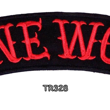 LONE WOLF RED ON BLACK Top Rocker Iron on Patch for Biker Vest TR328
