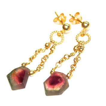 Watermelon Tourmaline Slice Earrings Chandelier Earrings Gold Chain Earrings Tourmaline Jewelry Gemstone Jewelry FizzCandy