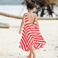 Baby Girls Kids Bohemian Backless Stripes One-piece Mid-Calf Skirt Beach Dresses