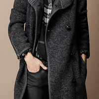 SHAWL COLLAR KNITTED COAT