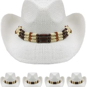 white color western hat with beaded band Case of 72