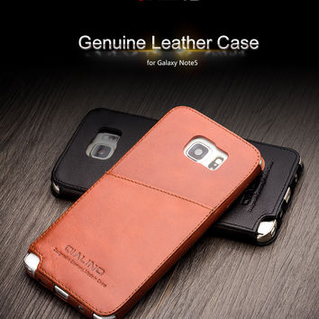 Case for Samsung Galaxy Note 5 Handmade Best Quality Genuine Leather Cover For Samsung Note5 Inserted Style in Back Case