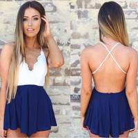 Sexy Back Crossover V-neck Backless Condole Short Jumpsuits