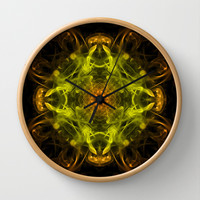 Orange & Yellow Smoke Art Wall Clock by Karl Wilson Photography